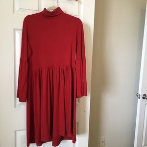 👉 Red Knit Dress Bell Sleeves Knee Length Turtle